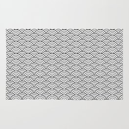 Black and White Japanese Wave Pattern Rug