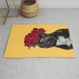 French Bulldog with Rose Flower Crown in Yellow Rug
