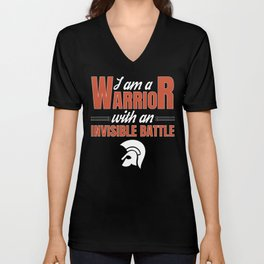 Warrior With An Invisible Battle for Disability Awareness Unisex V-Neck