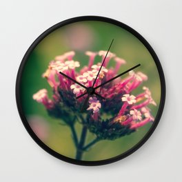 Spring Blooming Pink Flowers with Green Bokeh Background Wall Clock
