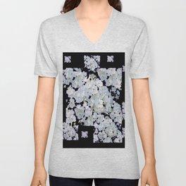 MODERN ART BLACK & WHITE FLORAL GARDEN Unisex V-Neck