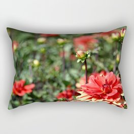VIBRANT RED DAHLIAS - IN THE LATE AFTERNOON SUNSHINE Rectangular Pillow