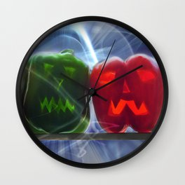 Jack O Lantern Bell Peppers Wall Clock