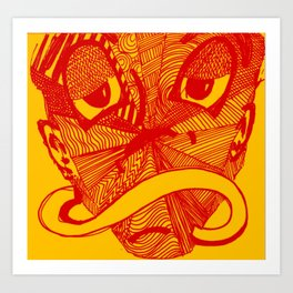 Mask #3: Mr. Time (Orange) Art Print