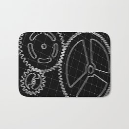 Set of white gears and cogs on virtual screen Bath Mat