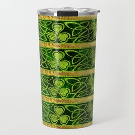 Irish Shamrock -Clover Gold and Green pattern Travel Mug