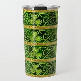 Irish Shamrock -Clover Gold and Green pattern Travel Mug