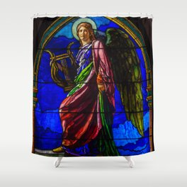 "John La Farge ""The Angel Holding a Lyre (or The Harpist)"" window Shower Curtain"