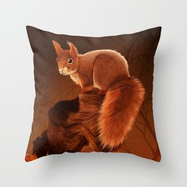 Red Squirrel in Autumn Throw Pillow