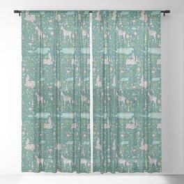 Wild Zebras in Green Garden Sheer Curtain