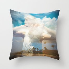 Hiding in the Hawaiian Sky - Holga Double Exposure Throw Pillow