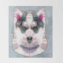 abstract husky puppy Throw Blanket