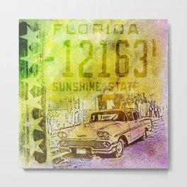 Classic Car Sunshine State Nostalgic Road Trip Mixed Media Art Metal Print