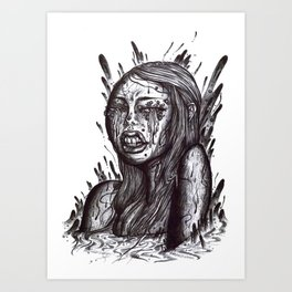 Swamp Girl uncolored  Art Print
