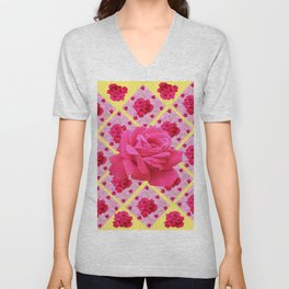 FUCHSIA PINK ROSE PATTERNS & YELLOW GARDEN ART Unisex V-Neck