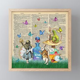 Alice In Wonderland Dictionary Page Celebration Framed Mini Art Print