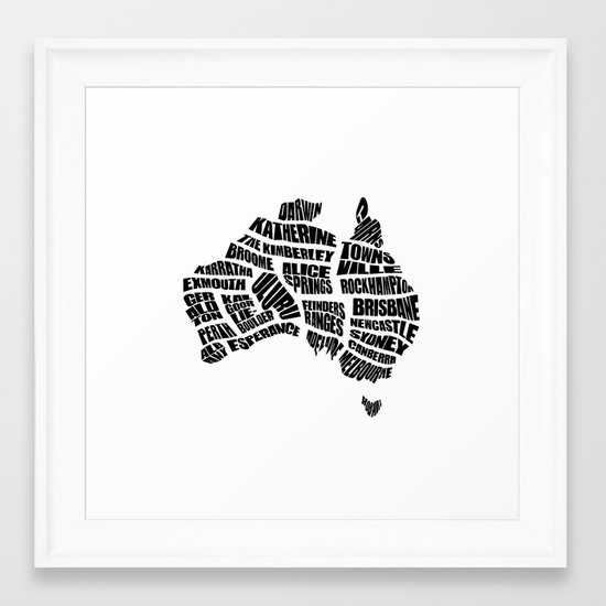 Australia word map black and white framed art print by inkofmegraphics society6