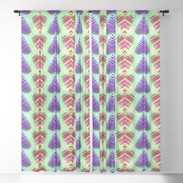 Red hearts in blue striped on a green background. Sheer Curtain