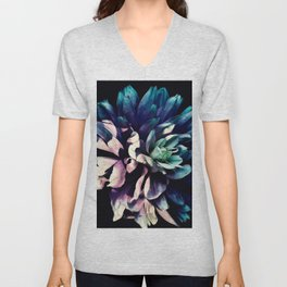 Pink Dahlia In the Last Rays of Sunset Unisex V-Neck
