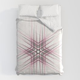 Pink Nordic star with fine geometric lines pattern Comforters