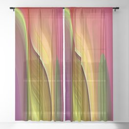 Tall And Short Colorful Abstract Sheer Curtain