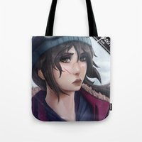 tomb raider Tote Bags featuring Rise of the Tomb Raider by Massimo Magnago