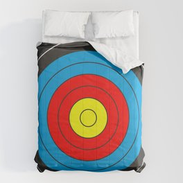 Yellow, red, blue, black target on white background Comforters