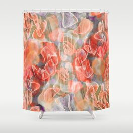 Falling Petals Abstract Floral Shower Curtain