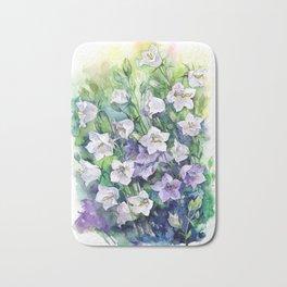 Campanula watercolor flowers, aquarelle bellflowers Bath Mat