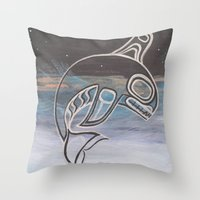 killer whale Throw Pillows featuring Killer Whale  by JessaDee`Designs