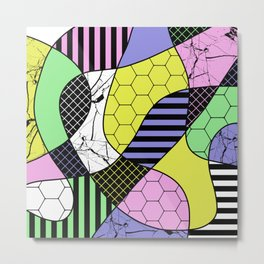 Pastel Collage - Multi patterned, abstract, pastel themed geometric art Metal Print
