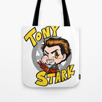 tony stark Tote Bags featuring Avengers - Chibi Tony Stark by feriowind