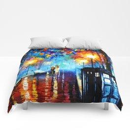 STARRY NIGHT TARDIS Comforters