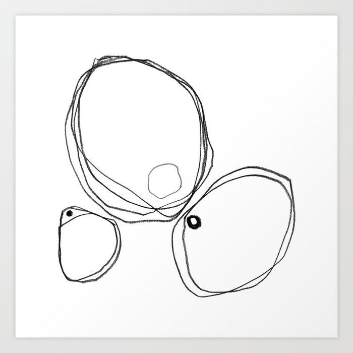 Three Shapes Minimalist Abstract Line Drawing Art Print