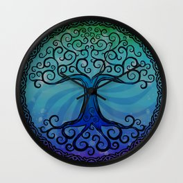 Tree of Life - Cool Blue Wall Clock