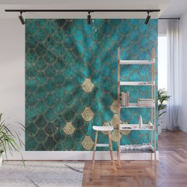 Multicolor Aqua And Gold Mermaid Scales -  Beautiful Abstract Pattern Wall Mural