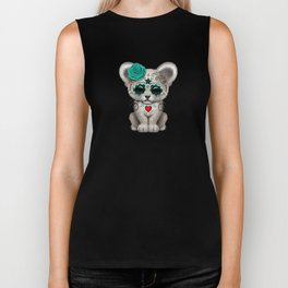 Teal Blue Day of the Dead Sugar Skull White Lion Cub Biker Tank
