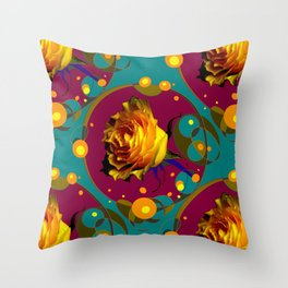 Champagne Bubbles Golden Rose Teal Abstract Throw Pillow