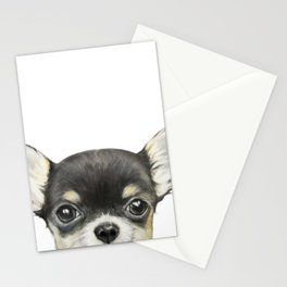 Chihuahua mix color Dog illustration original painting print Stationery Cards