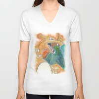 charizard V-neck T-shirts featuring Charizard by Luke Jonathon Fielding