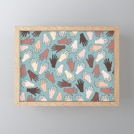 Nail Expert Studio - Colorful Manicured Hands Pattern Framed Mini Art Print