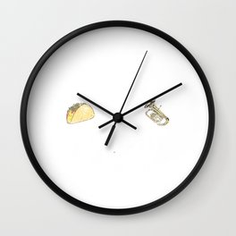 Tubas and Tacos Funny Taco Band Distressed Wall Clock