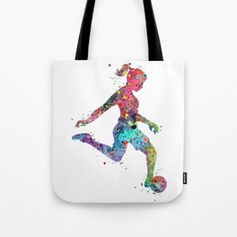 Girl Soccer Player Watercolor Sports Art Tote Bag