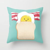 breakfast Throw Pillows featuring Morning Breakfast by Picomodi