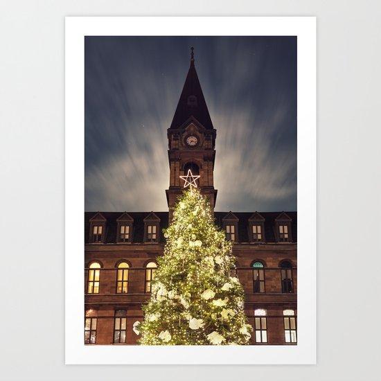Christmas Tree at City Hall Art Print