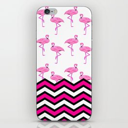 Pink Zebra Chevron with Flamingos iPhone Skin
