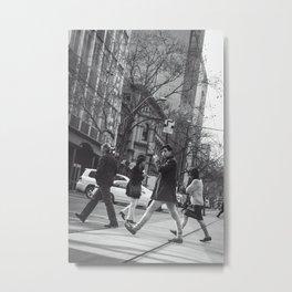Crossing the Boulevard Metal Print