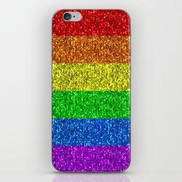 LGBT flag vibrant rainbow glitter sparkles iPhone Skin