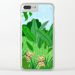 Leopards in the jungle Clear iPhone Case