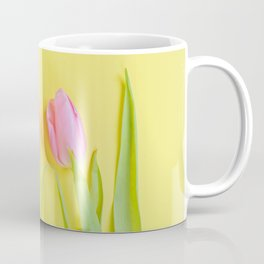Three pink tulips on yellow Coffee Mug